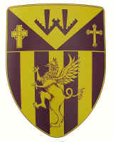 Yellow and purple custom crest on hanging shield