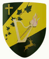 Harp image shield with black and yellow depicting family coats of arms