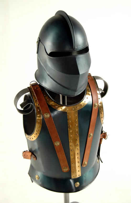 Blued finish medieval armor breastplate and helmet combo