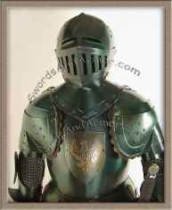 Italian Suit Of Armor With Blue Black Finish And Eagles Emblem - Torso Close Up