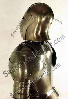 Aged Italian armor back view