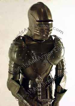 Italian aged suit of armor torso view