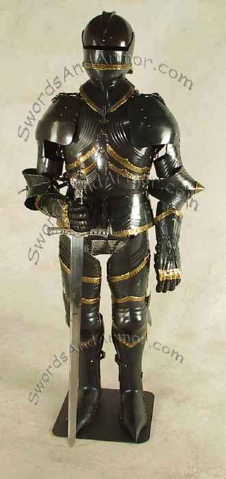 Black German Gothic Suit of Armor - Wearable