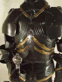 Black German Gothic Suit Or Armor Torso Close Up
