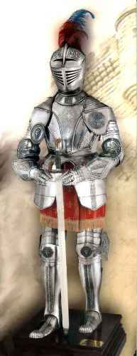 Etched Spanish Suit Of Armor With Sword And Stand