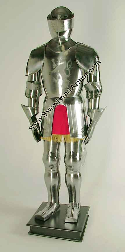medieval knight in shining armor display
