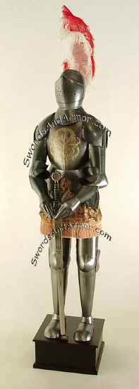 Medieval Suit Of Armor Wuith Gold Embossed Brestplate And Helmet Feather
