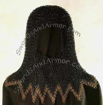 Black chainmail coif with brass edges