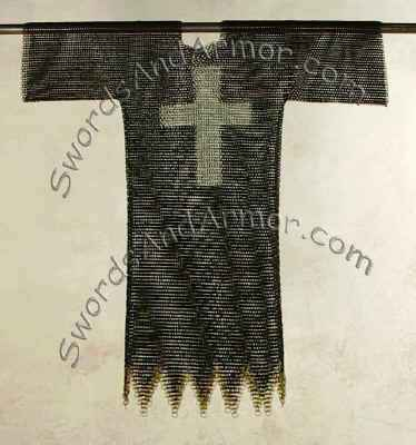 Templar black chainmail shirt with brass detail edges and silver cross