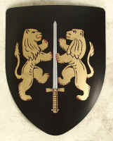 2 Gold rampant Lions on black shield