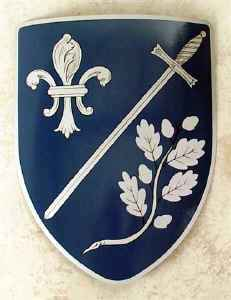 Garner family crest painted on shield