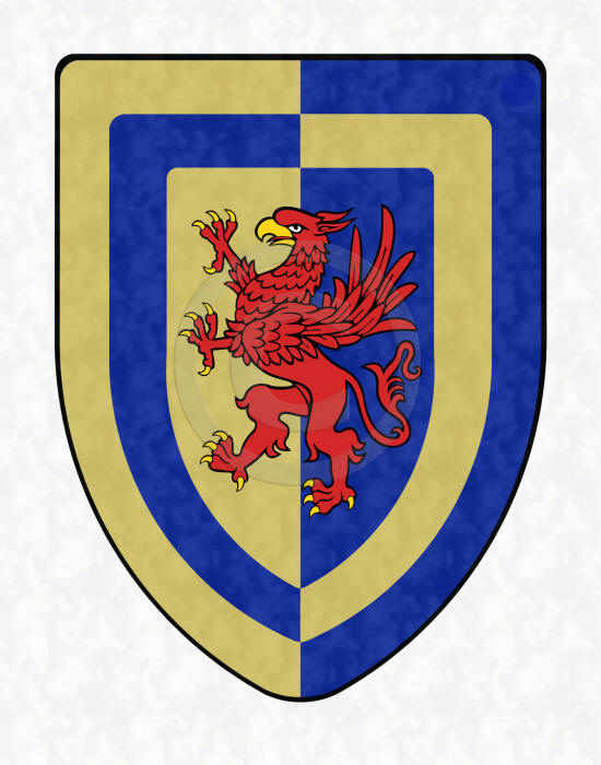 Special Griffin shield with gold and blue on a vertical split background