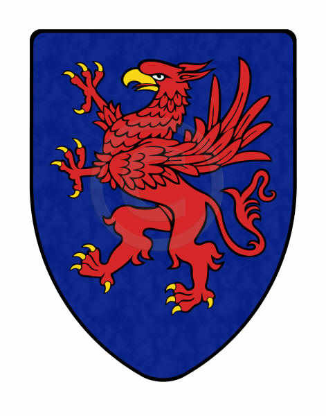 Griffin shield on blue background