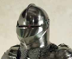 Medieval close helmet with clamshell opeing visor and chainmail aventail