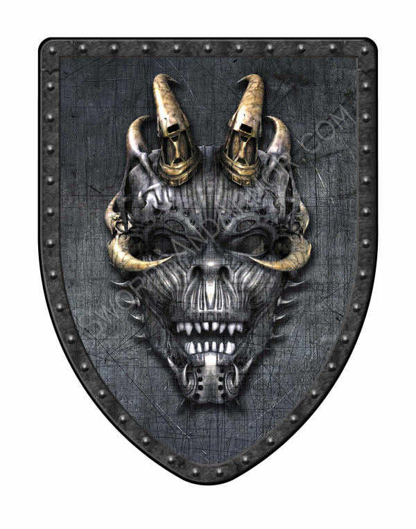 Industrial Gothic Demon Shield in steel gray