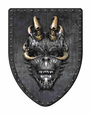 Industrial Demon Shields in steampunk Gothic style