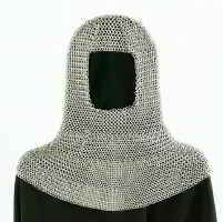 Chain mail coif in zinc silver finish