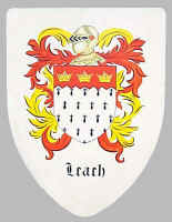 Leach family coats of arms on custom hand painted shield