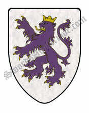 Purple Rampant Lion Shield