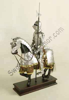 Miniature Mounted Knight - Silver