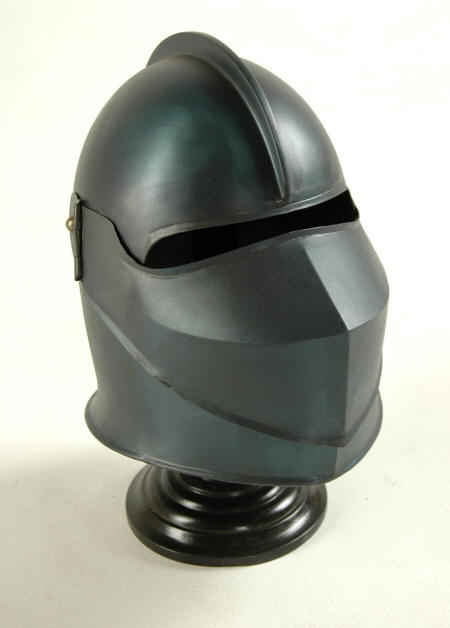 Medieval knight helmet with pivoting visor in blue finish