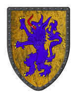 Alphyn medieval shield is purple and gold