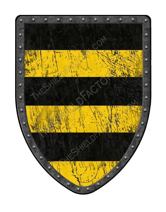 Barry of 6 gold and black medieval shield
