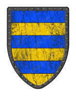 Barry of 6 medieval shield blue and gold