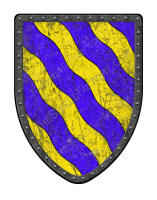 Bendy Wavy medieval shield in blue and gold