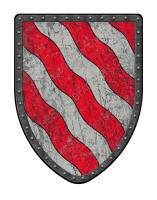 Bendy Wavy medieval shield silver and red