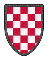 Checky red and white medieval shield