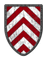 Chevronny of Ten red and white medieval shield
