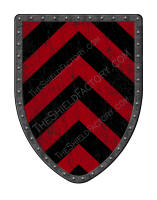 Chevronny of Ten black and gold medieval battle shield