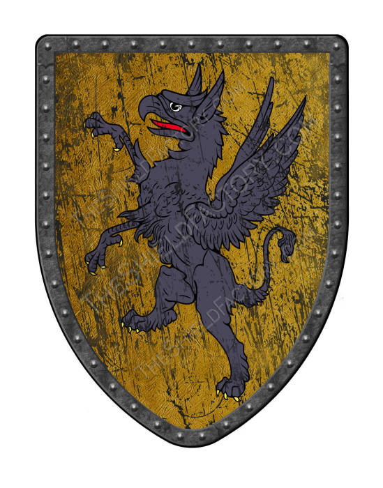 Griffin on ancient gold replica medieval battle shield