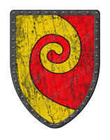 Gyronnant Red and Gold battle shield