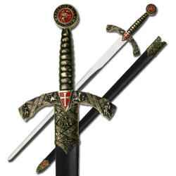 Medieval Sword With Gold and Red Hilt and Stainless Steel Blade