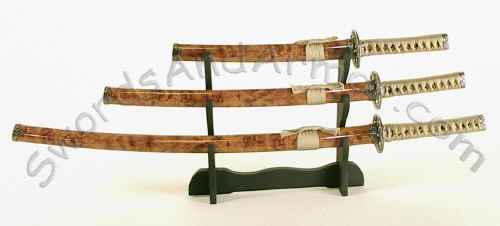 Samurai 3-piece sword set with wood grain finish