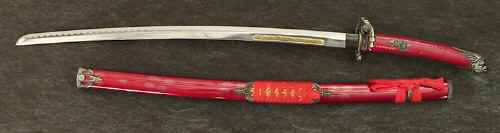 Samurai red dragon katana sword