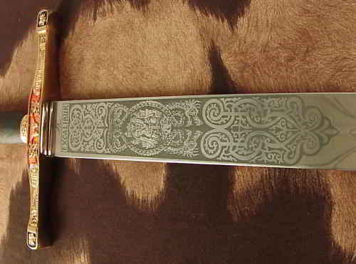 Excalibur stainless steel blade etching closeup