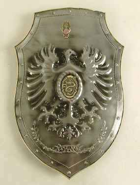 Medieval replica shield with embossed eagle