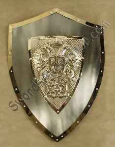 Carkos V medieval shield in polished finish with brass center