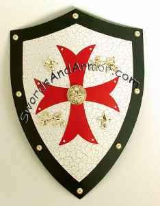 Templar Knights Medieval Shield - Red Cross On Black And White With Brass Accents
