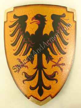 Eagle rising medieval shield in black and red with gold background