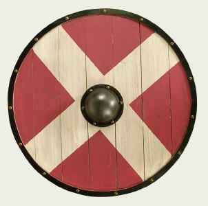 Round Wooden Shield in Red With White Cross And Center Boss