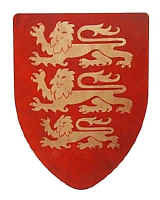 ricjard Lion Heart medieval shield in red with 3 gold lions