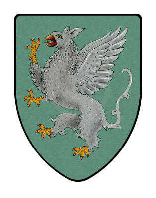 Griffin shield on Teal Background