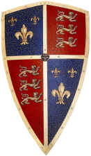 Shield of The Black Prince Medieval Crest - Red, Blue and Brass