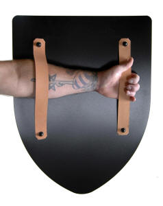 shield back with leather straps