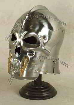 Skull medieval helmet with brass teeth and pivoting visor