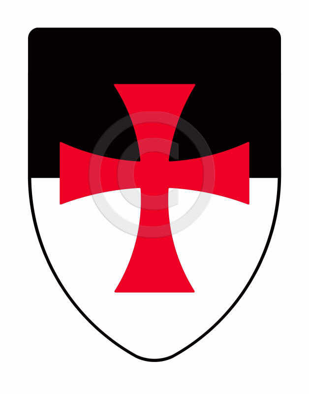 Templar knights shield on white and black background